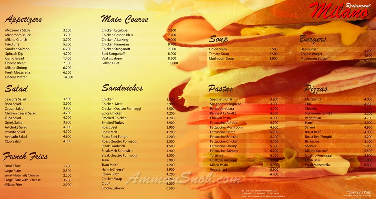 Cafe Milano Menu Prices